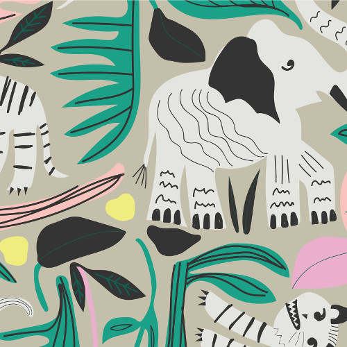 Wild Jungle Forest Barkcloth By Leah Duncan - Cloud9 Barkcloth