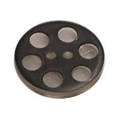 Acrylic Button 2 Hole Indented Circle 12mm Black