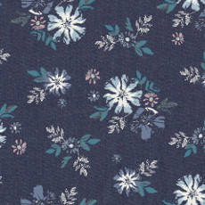 Artic Avens Denim Print - Art Gallery Fabric 58in/59in Per Metre, 100% Cotton, 4.5 Oz/sqm