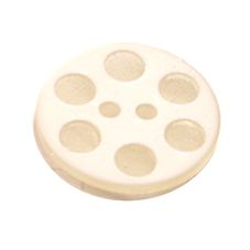 Acrylic Button 2 Hole Indented Circle 15mm White