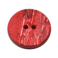 Acrylic Button 2 Hole Textured Without Gloss 15mm Red