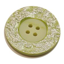 Acrylic Button 4 Hole Metallic 23mm Sage / Silver