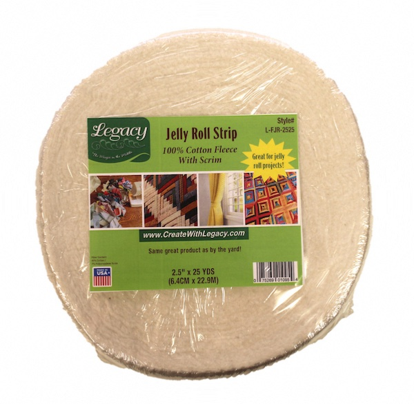 Legacy Natural Cotton Batting Needlepunched with Scrim - 2.25in x 23m (25yds) Jelly Roll Strip