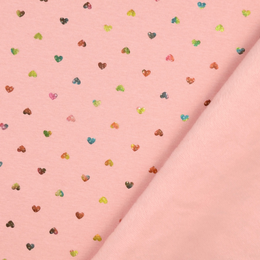 Foil Printed Hearts on Pink Supersoft Alpen Fleece Fabric