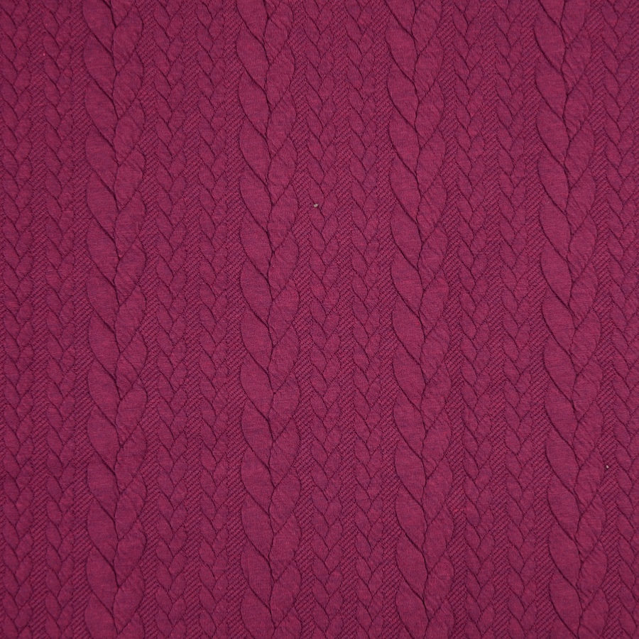 Barso Claret Heathered Cable Jacquard Knit Fabric