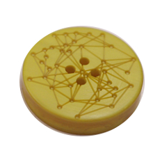 Acrylic Button 4 Hole Engraved 28mm Yellow
