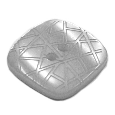 Acrylic Button 2 Hole Square Gloss Embossed 14mm Bluey Grey