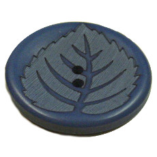 Acrylic Button 2 Hole Leaf Engraved 28mm Royal Blue