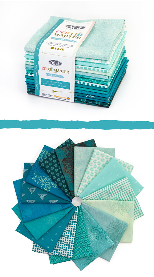 Color Master Elements Glacier Edition 16 Pieces Fat Quarter Bundle