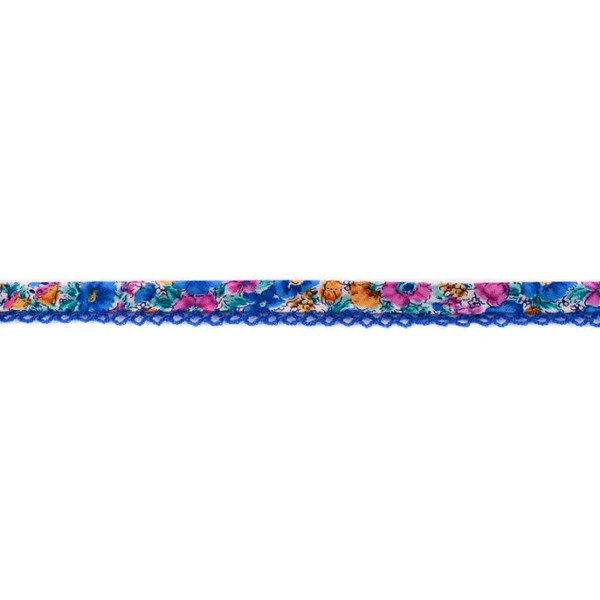 Blue Floral Crochet-edged Poplin Bias Binding Double Fold - 15mm X 25m