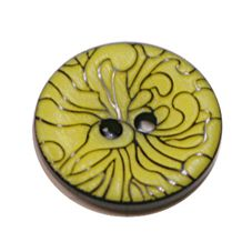 Acrylic Button 2 Hole Engraved 18mm Citron