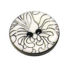 Acrylic Button 2 Hole Engraved 23mm White