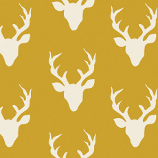 Hello Bear Buck Forest Mustard Knit - Art Gallery Fabric 58in/60in Per Metre