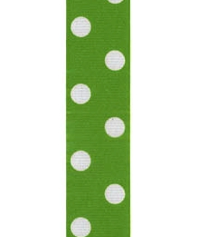 Spot Print Ribbon 7/8in 20mm Apple/white 50yds / 46m