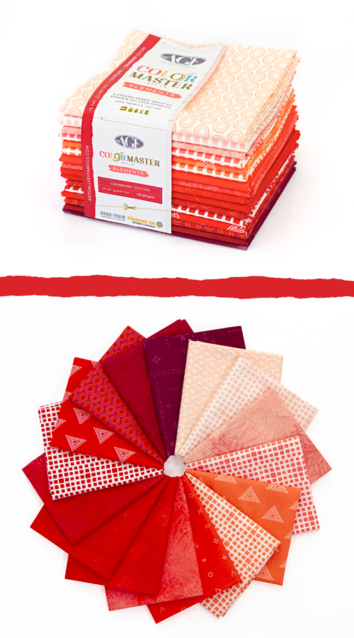 Color Master Elements Cranberry Edition 16 Pieces Fat Quarter Bundle