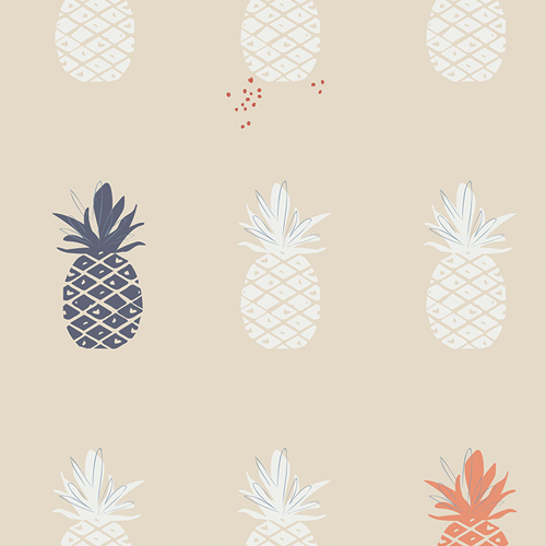 Charleston Ananas Cream Canvas