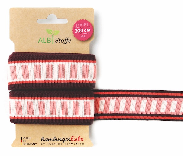 Stripe ME Icon Burgundy/Coral Trim from Wanderlust by Hamburger Liebe for Albstoffe
