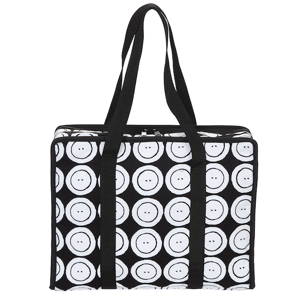 Prym All In One Sewing Bag Black and White Button Print