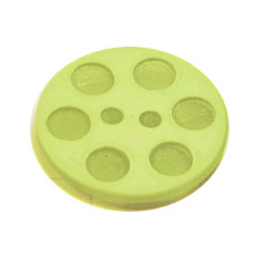 Acrylic Button 2 Hole Indented Circle 12mm Lime