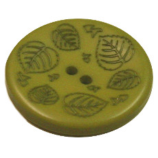 Acrylic Button 2 Hole Mini Leaves Engraved 28mm Grass Green