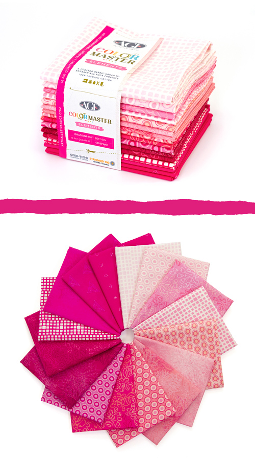 Color Master Elements Dragonfruit Edition 16 Pieces Fat Quarter Bundle