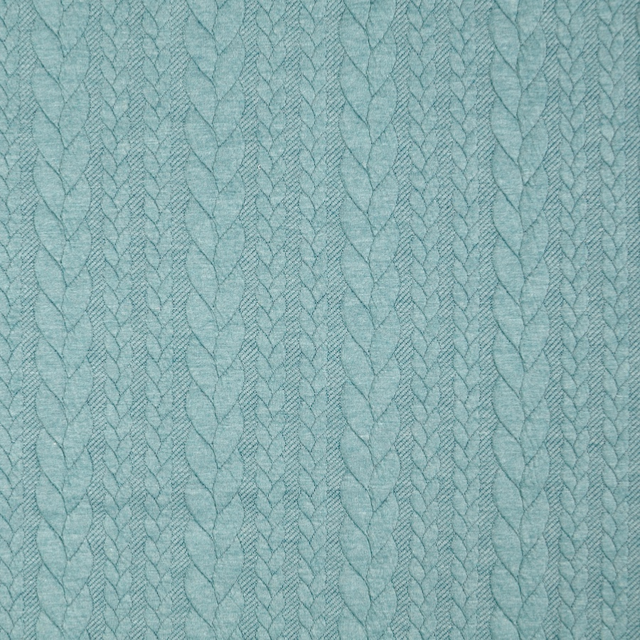 Barso Aqua Heathered Cable Jacquard Knit Fabric