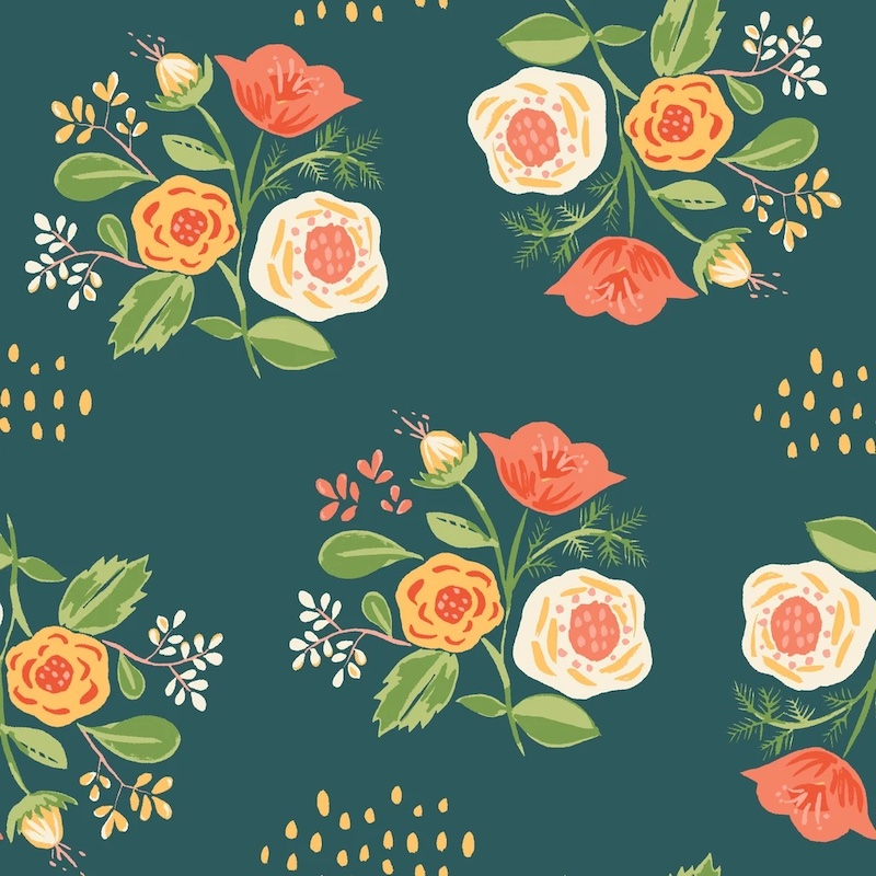Bouquet Teal From Vintage 74 By Monaluna Fabrics