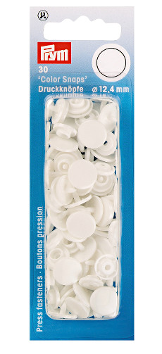 Prym White Non-sew Colour Snaps - 12.4mm 30 Pieces