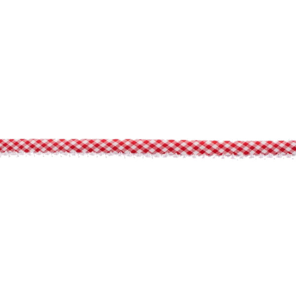 Red Gingham Crochet-edged Poplin Bias Tape - 15mm X 25m