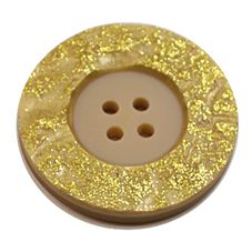 Acrylic Button 4 Hole Metallic 38mm Yellow / Gold