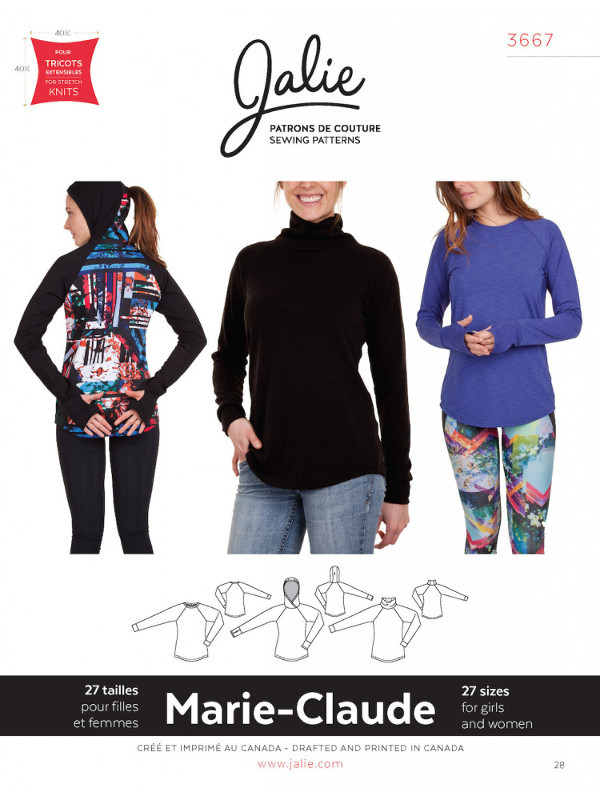 Marie-Claude Raglan Pullovers Pattern - Jalie Patterns