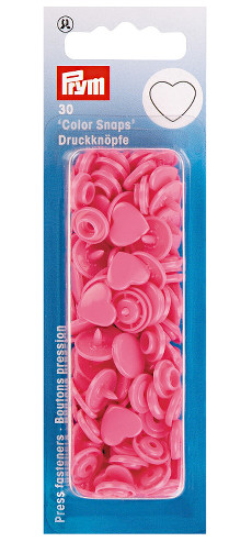 Prym Pink Heart Non-sew Colour Snaps - 12.4mm 30 Pieces