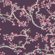 Wonderland Enchanted Leaves Plum Voile - Art Gallery Fabric 52in / 53in Per Metre