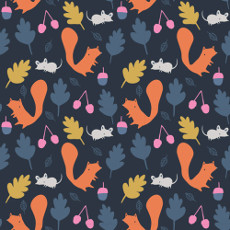 Woodland Critters Navy - Cloud 9 Laminate 100% Cotton Fabric With Pu Coating 58in / 147cm / Metre