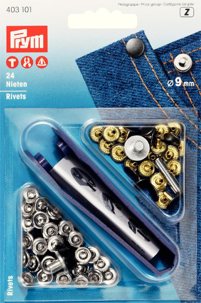 Prym Rivets 9mm Silver / Antique Steel - 24 Pieces