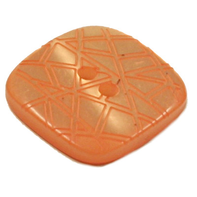 Acrylic Button 2 Hole Square Gloss Embossed 20mm Tangerine