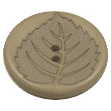 Acrylic Button 2 Hole Leaf Engraved 28mm Beige