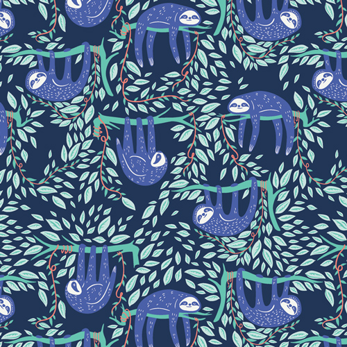 Swaying Sloths Serene Cotton From Selva By AGF Studio