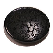 Acrylic Shank Button Embossed 20mm Black