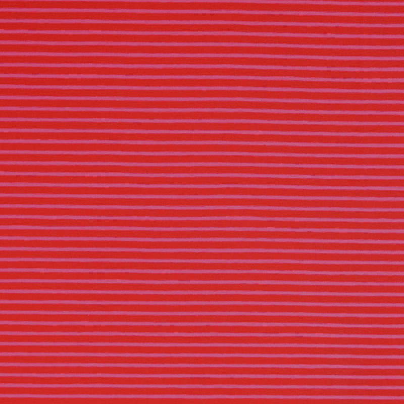 Nantes Red and Pink Striped Knit Fabric