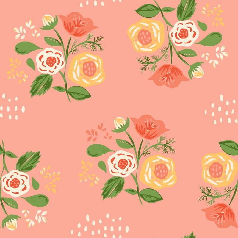 Bouquet Pink From Vintage 74 By Monaluna Fabrics