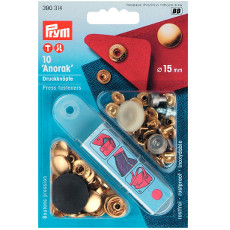 Prym Non-sew Press Fasteners 15mm Brass Gold Coloured - 10 Pieces