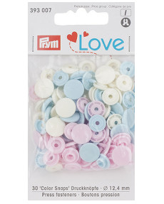 Prym Pale Pink / Light Blue / Pearl Non-sew Colour Snaps - 12.4mm 30 Pieces