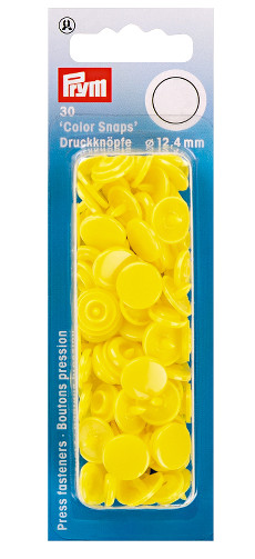 Prym Light Yellow Non-sew Colour Snaps - 12.4mm 30 Pieces