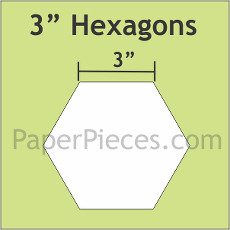 3 Inch Hexagons Small Pack 25 Pieces - Paper Piecing