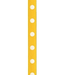Spot Print Ribbon 3/8in 9mm Canary/white 50yds / 46m