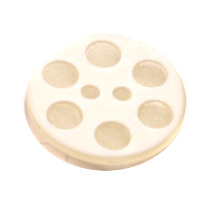 Acrylic Button 2 Hole Indented Circle 12mm White