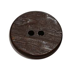 Acrylic Button 2 Hole Textured Without Gloss 15mm Chocolate
