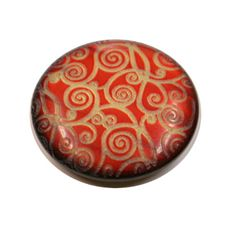 Acrylic Shank Button Gold Embossed 18mm Red