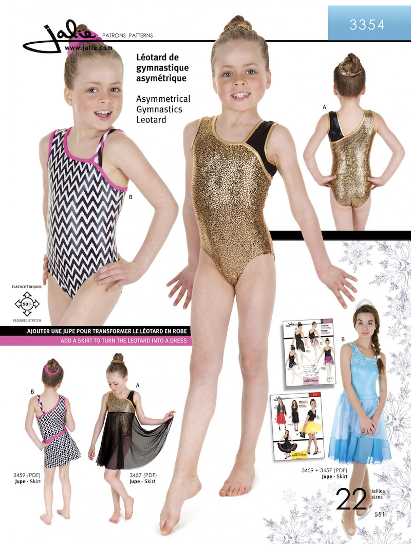 Asymmetrical Gymnastics Leotard Pattern by Jalie